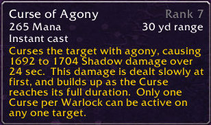 Curse of Agony tooltip